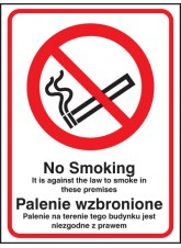 No Smoking It Is Against the Law to Smoke in Premises (English/polish)