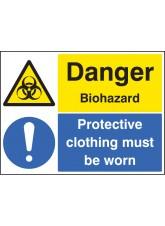 Danger Biohazard Protective Clothing Must be Worn