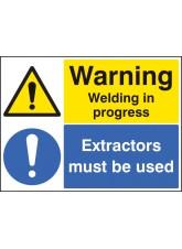 Warning Welding in Progress Extractors Must Be used
