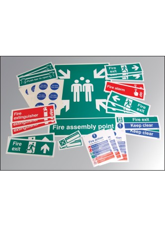 Fire Safety Signs Kit - Rigid Value Pack (Self Adhesive Vinyl 20%)