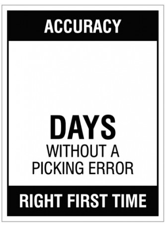 Accuracy … Days without a picking error, 450x600mm rigid PVC with wipe clean over laminate