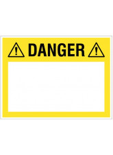 Danger (write your message), 300x400mm rigid PVC with wipe clean over laminate