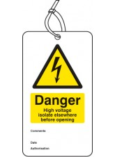 Danger High Voltage Isolate Elsewhere D/S Tag (Pack of 10)