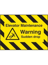Door Screen Sign- Elevator Maintenance, Warning Sudden Drop - 600 x 450mm