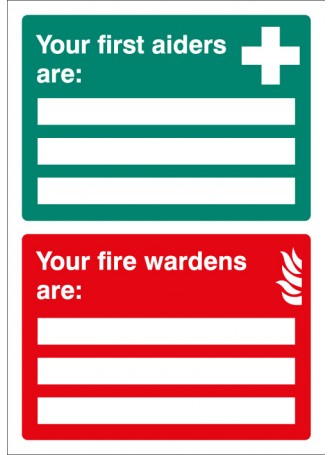First Aiders/Fire Wardens Are - Adapt-a-Sign