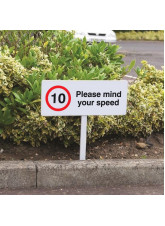 10mph Please Mind Your Speed - White Powder Coated Aluminium - 450 x 150mm (800mm Post)