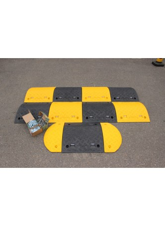 Speed Bump: 75mm Endcap Segment Yellow HxWxD: 75 x 210 x 480mm with Fixings