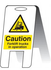 Caution Forklift Trucks in Operating - Self Standing Folding Sign