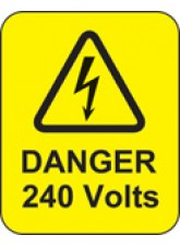 Danger 240 Volts Labels