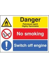 Petroleum Spirit/no Smoking/switch Off Engine