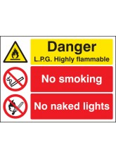 Danger LPG Highly Flammable No Smoking No Naked Lights